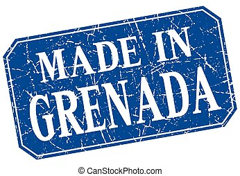 made in Grenada blue square grunge stamp