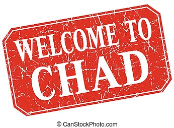 welcome to Chad red square grunge stamp