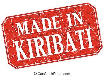 made in Kiribati red square grunge stamp
