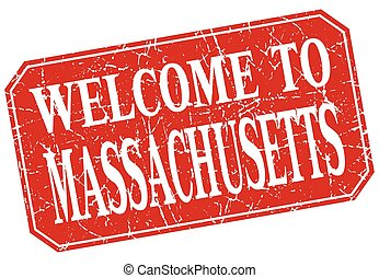 welcome to Massachusetts red square grunge stamp