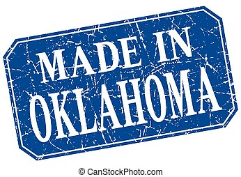 made in Oklahoma blue square grunge stamp