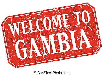 welcome to Gambia red square grunge stamp