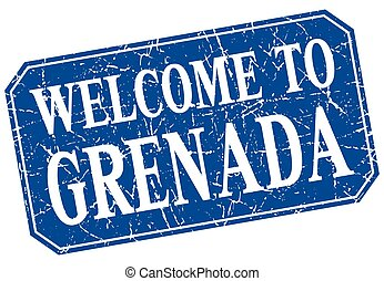 welcome to Grenada blue square grunge stamp