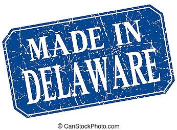 made in Delaware blue square grunge stamp