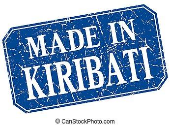 made in Kiribati blue square grunge stamp