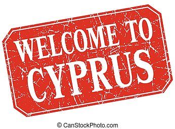 welcome to Cyprus red square grunge stamp