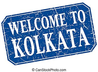 welcome to Kolkata blue square grunge stamp