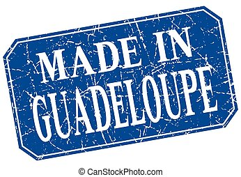 made in Guadeloupe blue square grunge stamp