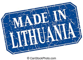 made in Lithuania blue square grunge stamp
