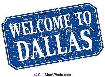 welcome to Dallas blue square grunge stamp