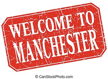 welcome to Manchester red square grunge stamp