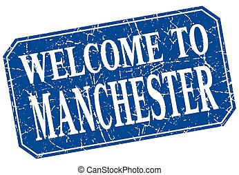 welcome to Manchester blue square grunge stamp