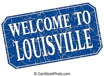 welcome to Louisville blue square grunge stamp