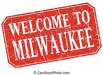 welcome to Milwaukee red square grunge stamp