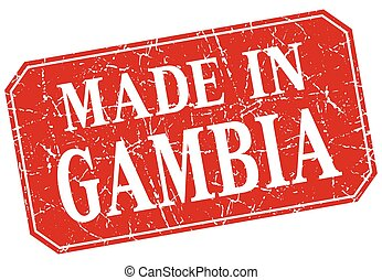 made in Gambia red square grunge stamp