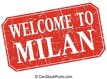 welcome to Milan red square grunge stamp