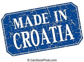 made in Croatia blue square grunge stamp