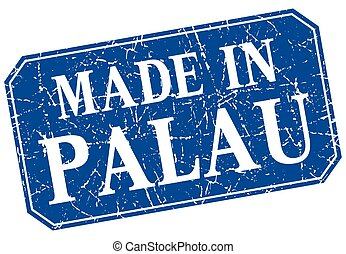 made in Palau blue square grunge stamp