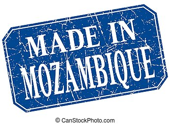 made in Mozambique blue square grunge stamp