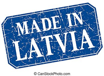 made in Latvia blue square grunge stamp