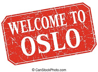 welcome to Oslo red square grunge stamp
