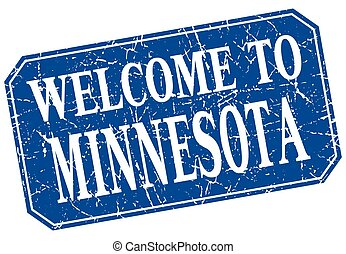 welcome to Minnesota blue square grunge stamp