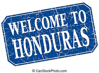 welcome to Honduras blue square grunge stamp
