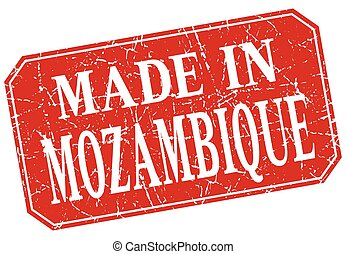 made in Mozambique red square grunge stamp