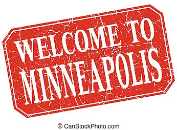 welcome to Minneapolis red square grunge stamp