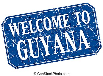 welcome to Guyana blue square grunge stamp