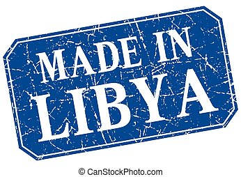 made in Libya blue square grunge stamp