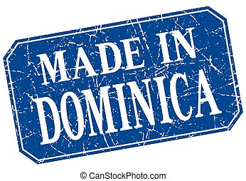 made in Dominica blue square grunge stamp