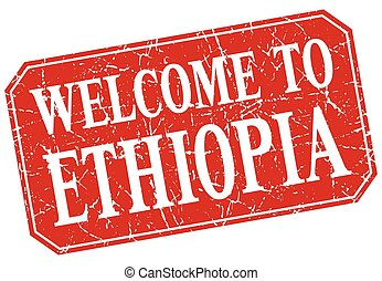 welcome to Ethiopia red square grunge stamp