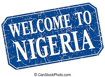 welcome to Nigeria blue square grunge stamp