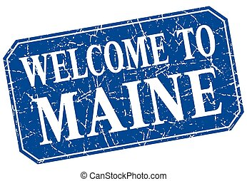 welcome to Maine blue square grunge stamp