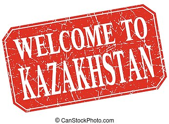 welcome to Kazakhstan red square grunge stamp