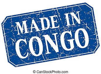 made in Congo blue square grunge stamp