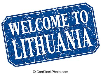 welcome to Lithuania blue square grunge stamp