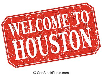 welcome to Houston red square grunge stamp