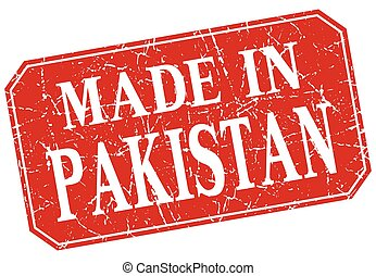 made in Pakistan red square grunge stamp