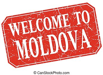 welcome to Moldova red square grunge stamp
