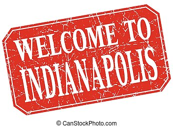 welcome to Indianapolis red square grunge stamp