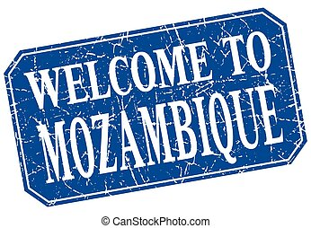 welcome to Mozambique blue square grunge stamp