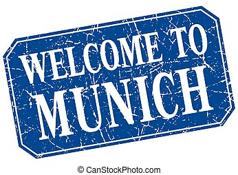 welcome to Munich blue square grunge stamp