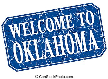 welcome to Oklahoma blue square grunge stamp
