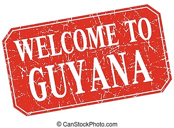 welcome to Guyana red square grunge stamp