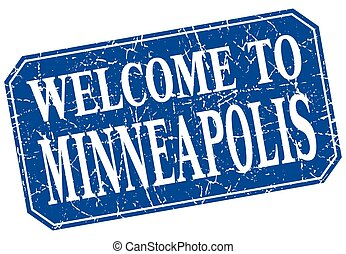 welcome to Minneapolis blue square grunge stamp