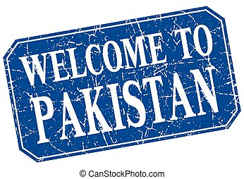 welcome to Pakistan blue square grunge stamp