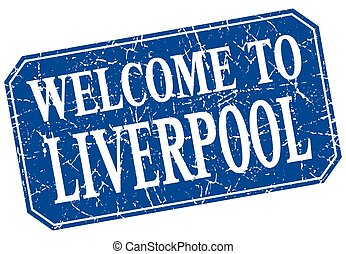 welcome to Liverpool blue square grunge stamp