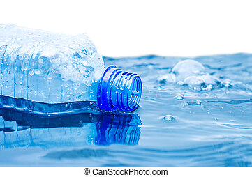 The bottle with water floats